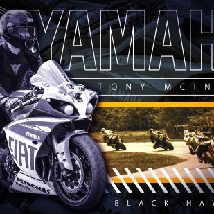 """A 24 x 36"""" poster I made for a local motorcyclist using Photoshop"""